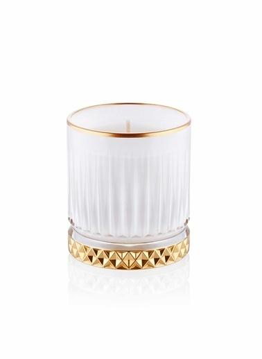 The Mia Cam İçi Dolu Mumluk - Beyaz Gold 7 X 8 Cm Renkli